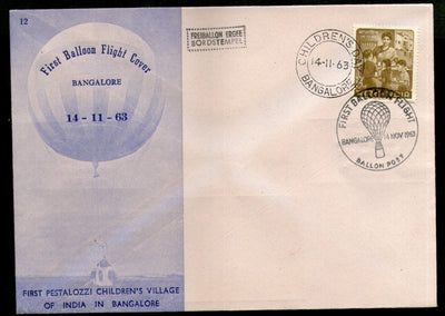 India 1963 Germany 1st Pestalozzi Balloon Flight Banglore Carried Cover # 1458A