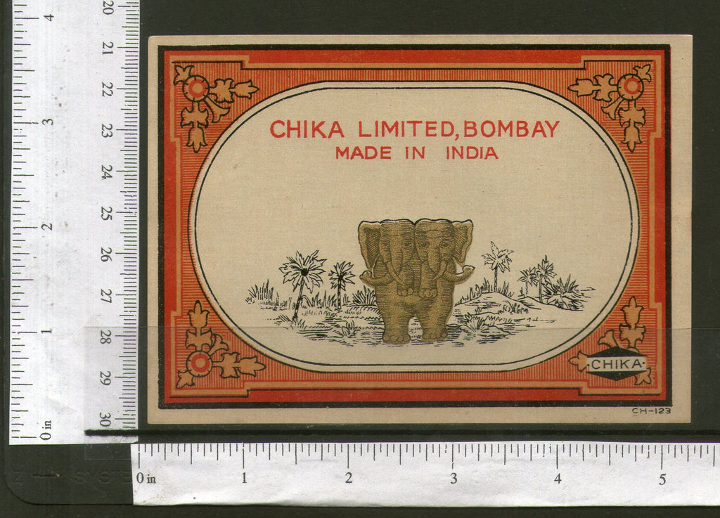 India Twins Elephant Brand Vintage Trade Textile Label Wild Life Animal 556-20 - Phil India Stamps