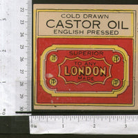 India London Brand Castor Oil Vintage Trade Label Multi-colour 556-21 - Phil India Stamps