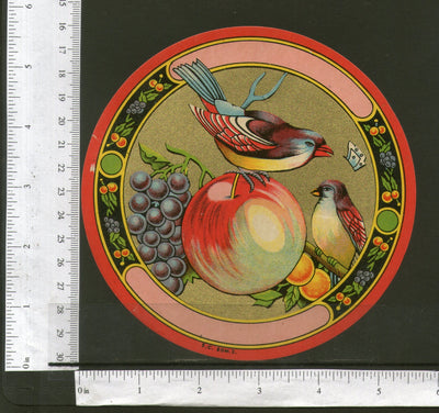 India Bird Fruits Vintage Trade Textile Label Multi-colour # 556-25 - Phil India Stamps