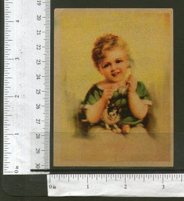 India Child with Telephone & Toy Vintage Trade Textile Label Multi-colo# 556-30 - Phil India Stamps