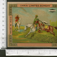 India Horse-Rider Vintage Trade Label Multi-colour Animal # 556-3 - Phil India Stamps