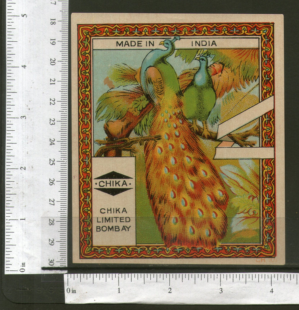 India Peacock Birds Vintage Trade Textile Label Multi-coloured Fauna # 556-46 - Phil India Stamps