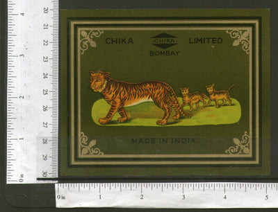 India Tiger & Cubs Vintage Trade Textile Label Multi-colour Animal Wildlife #04 - Phil India Stamps