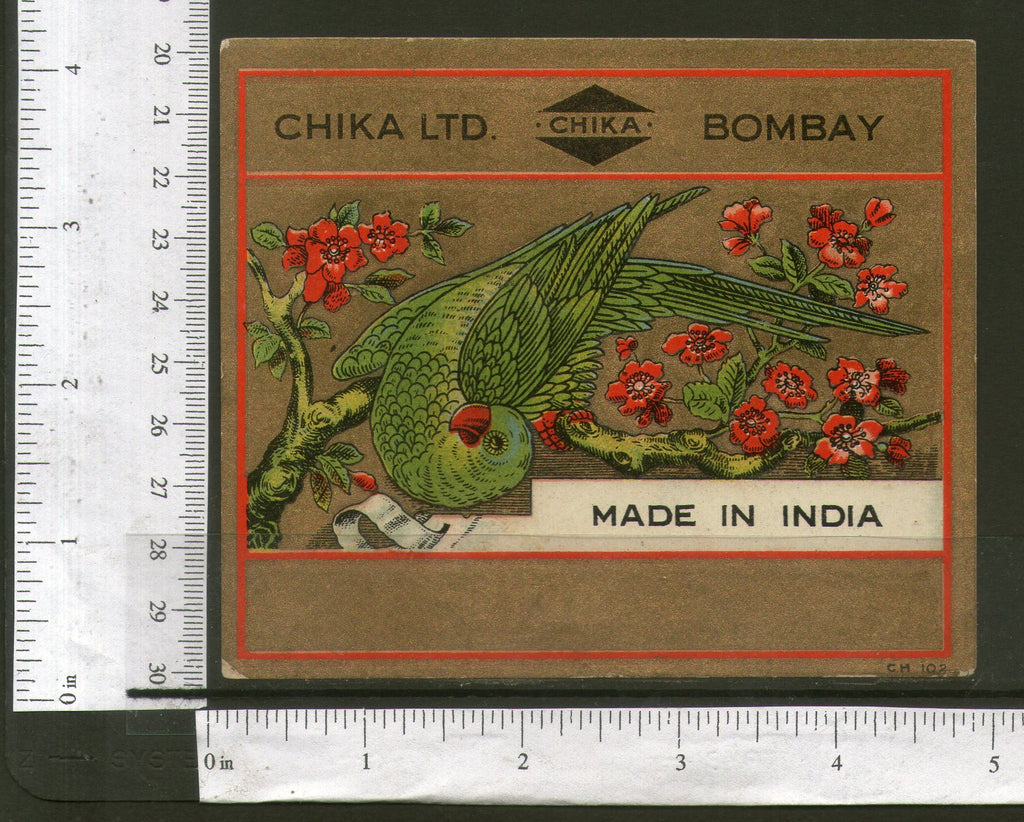 India Parrot Birds Flowers Bronze Vintage Trade Textile Label Multi-colour # 50 - Phil India Stamps