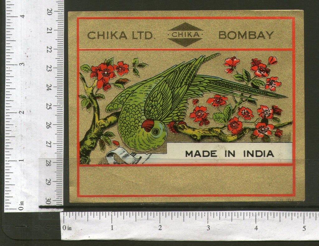 India Parrot Birds Flowers Golden Vintage Trade Textile Label Multi-colour # 51 - Phil India Stamps