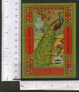 India Bird Peacock Vintage Trade Textile Chika Mills Bombay Label Multi-colour 7 - Phil India Stamps