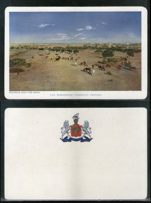 India Bhavnagar State The Paddocks Ground Horses Animal Vintage View Picture Post Card # 13