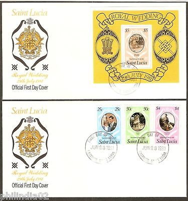 St. Lucia 1981 Lady Diana Royal Wedding M/s+3v FDC