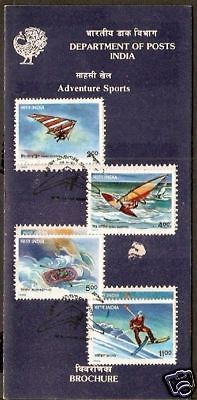 India 1992 Adventure Sports Rafting Skiing Phila-1335a Cancelled Folder