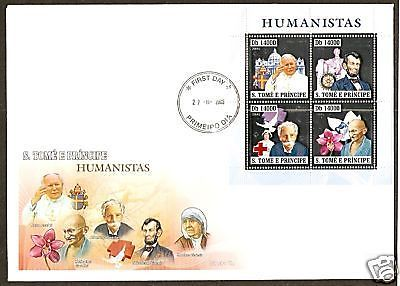St. Thomas & Prince Islan 2006 Gandhi of India Mother Teresa Silver Sheetlet FDC