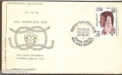India 1970 Girl Guide Movement Phila-528 99 APO Can FDC