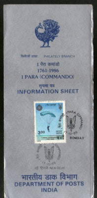 India 1986 Parachute Regiment Phila-1048 Cancelled Folder