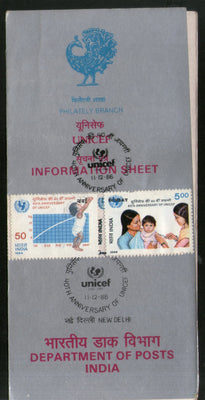 India 1986 UNICEF Child Care Phila-1054-55 Cancelled Folder
