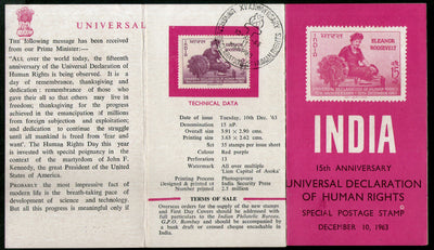 India 1963 Eleanor Roosevelt Declaration of Human Rights Phila-394 Canc Folder