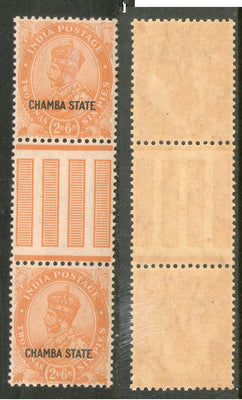 India CHAMBA State 2½As Postage KG V SG 69 / Sc 66 Vertical Gutter Pair MNH - Phil India Stamps