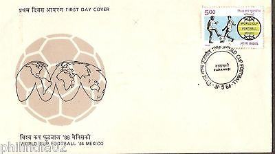 India 1986 World Cup Football Sport  Phila-1039 FDC+Folder