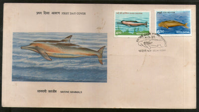 India 1991 Marine Mammals Dolphin Sea Cow Phila-1269-70 FDC