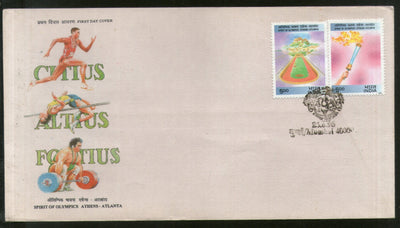 India 1996 Spirit of Olympic Games Atlanta Torch Sport Phila 1495-96 FDC