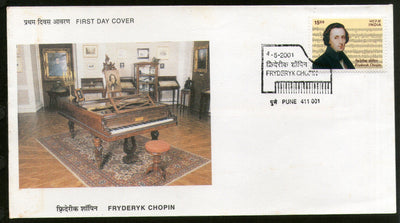 India 2001 Fryderyk Chopin Composer Poland Musical Instrument Phila-1829 FDC