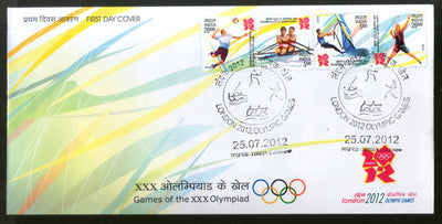 India 2012 London Olympic Games Badminton Sailing Rowing Handball Se-Tenant Strip FDC