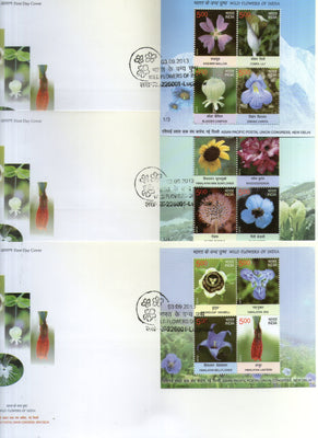 India 2013 Wild Flowers of India Lily Sunflowers Poppy Set of 3 M/s on FDCs