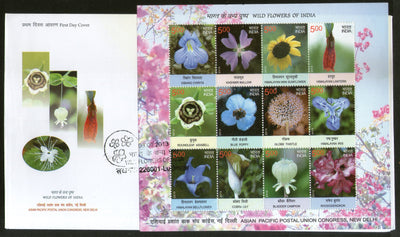 India 2013 Wild Flowers of India Lily Sunflowers Poppy Plant 12v Sheetlet on FDC