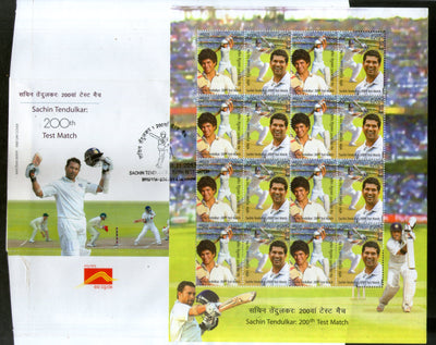 India 2013 Sachin Tendulkar Cricket Player Sports Phila-2917 Full Sheetlet on FDC