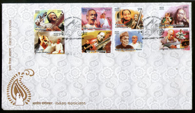 India 2014 Indian Musicians Musical Instrument Art 8v FDC