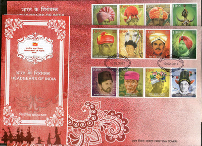 India 2017 Headgears of India Regional Caps Costume Culture 2 FDCs + Blank Folder - Phil India Stamps