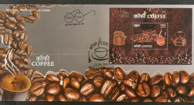 India 2017 Indian Coffee Beans Tea Kettle & Cup M/s on FDC - Phil India Stamps