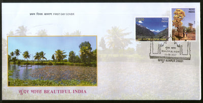 India 2017 Beautiful India Taj Mahal Mountains Flowers Tree Nature 2v FDC - Phil India Stamps