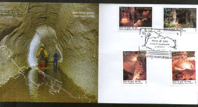 India 2017 Caves of Meghalaya Rock Mountain Nature 4v FDC - Phil India Stamps