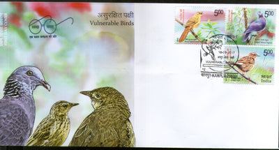 India 2017 Vulnerable Birds Nilgiri Pigeon Wablar Pipat Wildlife Fauna 3v FDC - Phil India Stamps