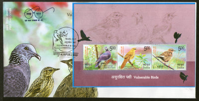 India 2017 Vulnerable Birds Nilgiri Pigeon Warbler Pipit Wildlife Fauna M/s on FDC - Phil India Stamps
