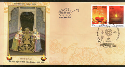 India 2017 Hindu Festival of Lights Diwali Joints Issue with Canada 2v FDC - Phil India Stamps