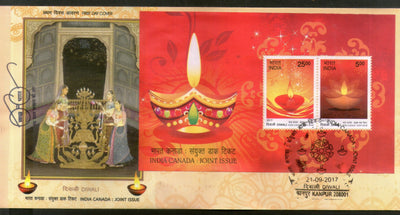 India 2017 Hindu Festival of Lights Diwali Joints Issue with Canada M/s on FDC - Phil India Stamps
