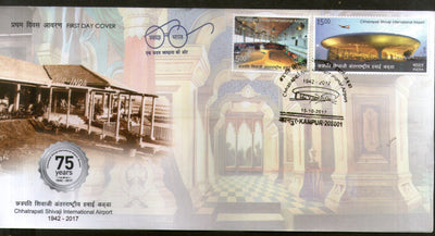 India 2017 Chhatrapati Shivaji International Airport Old & New Building Aviation 2v FDC - Phil India Stamps