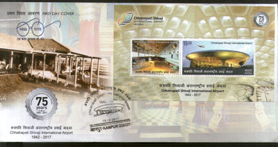 India 2017 Chhatrapati Shivaji International Airport Old & New Aviation M/s on FDC - Phil India Stamps