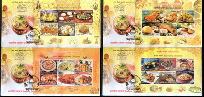 India 2017 Indian Cuisine Regional Festival Foods Meals Set of 4 M/s on FDCs - Phil India Stamps