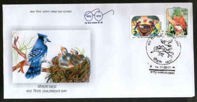 India 2017 Children's Day Paintings Nest Egg Birds Parrot Wildlife 2v FDC - Phil India Stamps
