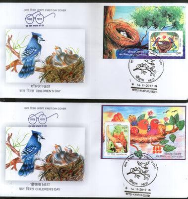 India 2017 Children's Day Paintings Nest Egg Birds Parrot Wildlife 2 M/s Set on FDCs - Phil India Stamps