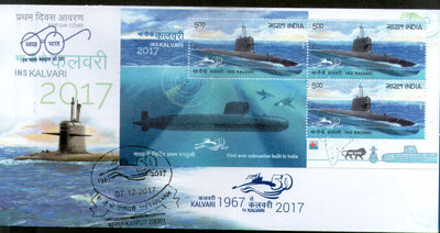 India 2017 INS Kalvari Submarine Arm Indian Navy Ship Transport Sheetlet on FDC - Phil India Stamps
