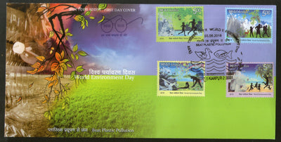 India 2018 World Environment Day Beat Plastic Pollution Nature Health Yoga FDC - Phil India Stamps