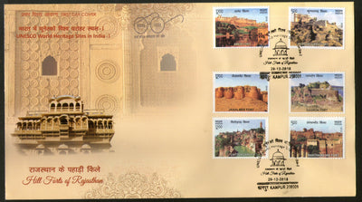 India 2018 Hill Forts of Rajasthan Tourism Place Architecture 6v FDC
