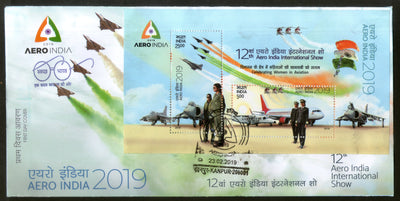 India 2019 Aero India Women in Aviation Aeroplane Transport Flag M/s on FDC