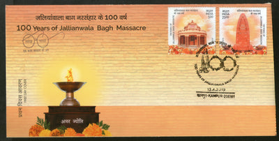 India 2019 100Years of Jallianwala Bagh Massacre Memorial Statue Sikhism 2v FDC