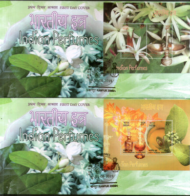 India 2019 Indian Perfumes Sandalwood & Jasmine Flower Fragrance Stamps M/s on FDCs