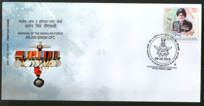 India 2019 Air Force Marshal Arjan Singh DFC Sikhism Medal FDC