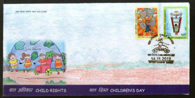 India 2019 Child Rights Children's Day Painting 2v FDC